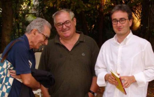 Antonio Riccardi (a destra) insieme a Milo De Angelis (centro) e Franco Loi (sinistra)